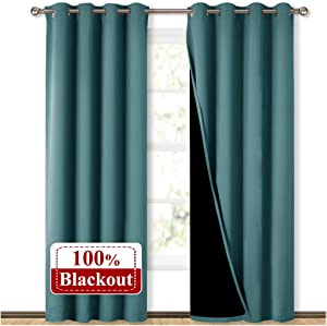 NICETOWN 100% Blackout Blinds, Laundry Room Decor Window Treatment Curtains, Thermal Insulated Energy Smart Drapes and Draperies for Villa, Hall and Studio, Sea Teal, Set of 2, 52 inches x 95 inches