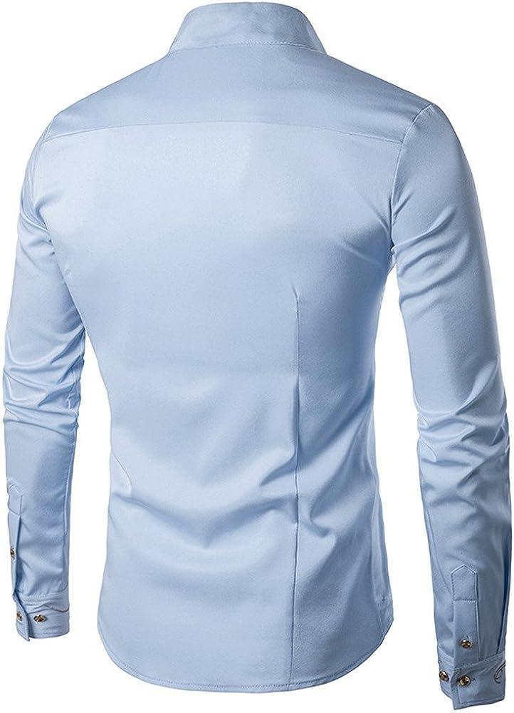 FAMILIZO Camisas Hombre Manga Larga Slim Fit Camisas Hombre Lino Camisas Hombre Originales Negocio Tops Blusa Hombre Blanca Otoño Business Casual Formal Slim Button-Down Asimétrico: Amazon.es: Ropa y accesorios