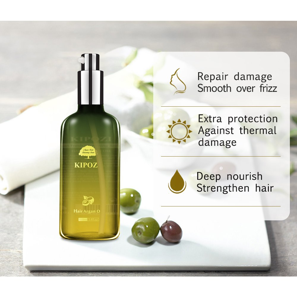 KIPOZI Argan Oil for Hair,Heat Protector Anti-Frizz Hair Repair Serum Leave in Treatment for Frizz Control, Shine and Straightening,Repair Damage Hair&Split ends,3.4 fl. Oz by kipozi (Image #5)