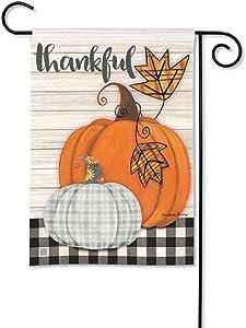 Studio M BreezeArt Plaid Pumpkin Decorative Garden Flag – Premium Quality, 12.5 x 18 Inches