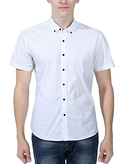 574d14461ff XI PENG Men s Formal Business Solid Cotton Button Down Short Sleeve Dress  Shirts (Small