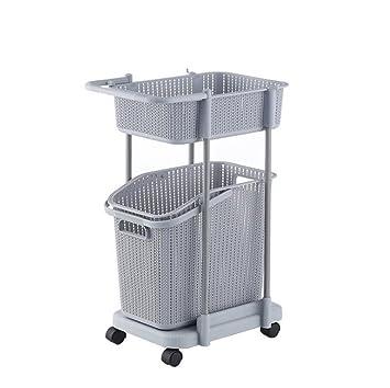 Z@SS Multi-Tier Basket Stand Kitchen Bathroom Material PP Rolling Storage Carrito Con Ruedas, Basket Con Mango Y Cesto De Ropa Extraíble, Storage Rack,Gray ...