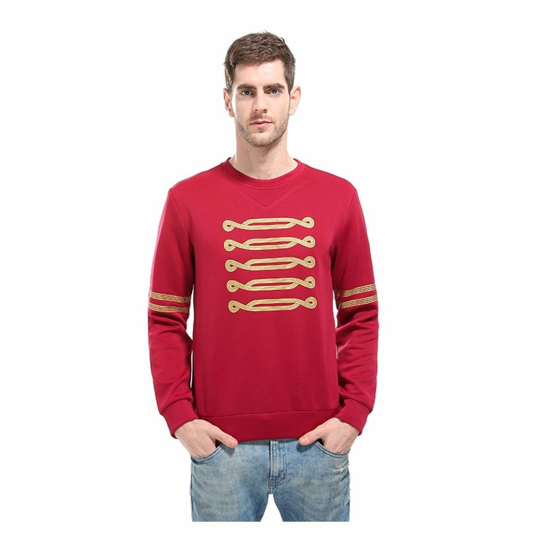 WM & MW Males Sweatshirt,Fashion Men's Shirt Novelty Gold Print Slim Shirt Top Pullover Jumper Blouse (Red, Asian:L) by WM & MW