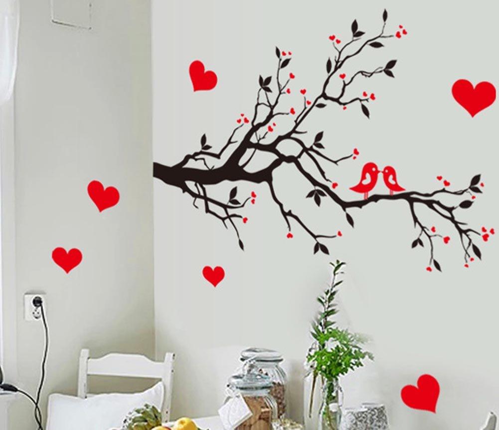 BIBITIME Black Tree Branch Red Plum Wall Decal Kissing Lovers Birds Hearts Art Sticker for Nursery Bedroom Living Room TV Background Vinyl Decor