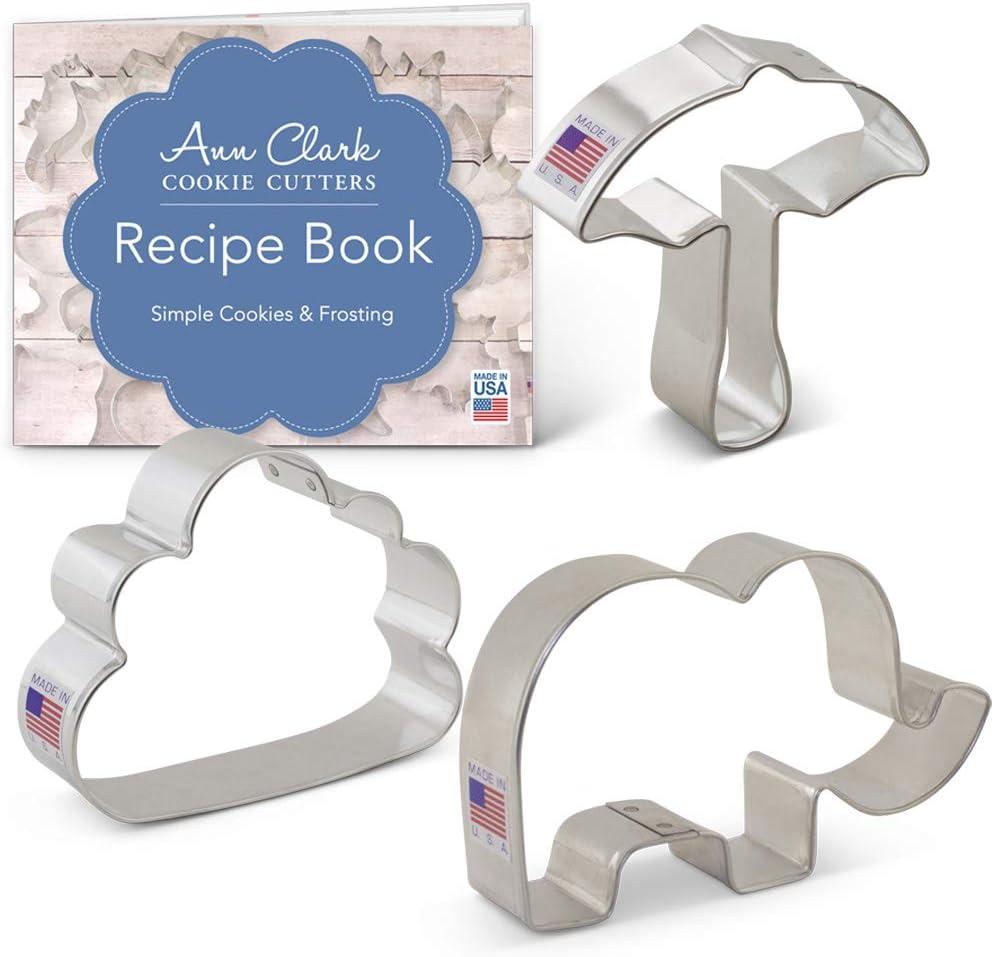 Set di formine per biscotti a forma di elefante elefante ombrello e nuvola Ann Clark Cookie Cutters con ricettario 3 pezzi