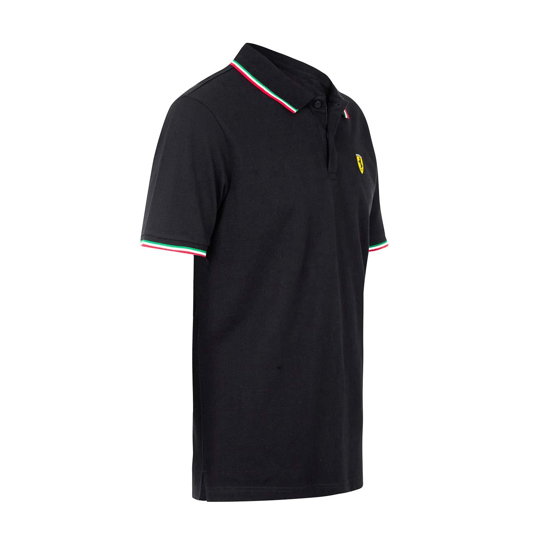 Scuderia Ferrari Mens Formula 1 2018 Authentic Mens Black Tri-Color Polo