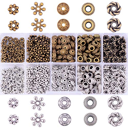 Antique Silver Jewelry Boxes - Antique Tibetan Silver Bronze Spacer Beads Box Kit 500pcs Jewelry Findings Beading Assortment Accessories DIY for Bracelet Necklace Jewelry Making (Spacer Beads)