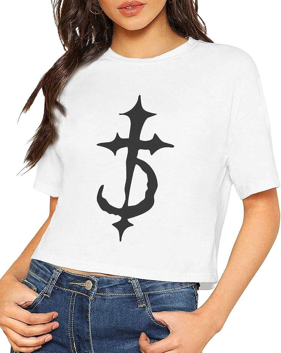 Chouven Womens Crop Tops Devil Driver Logo Crew Neck Short Sleeve T Shirt