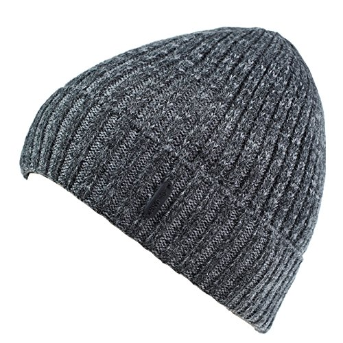 Connectyle Outdoor Classic Basic Men  's Warm Winter Hats Thick Knit Long Cuff Beanie Cap with Lining, 55 60cm, Dark Gray - Stretch Winter Cap
