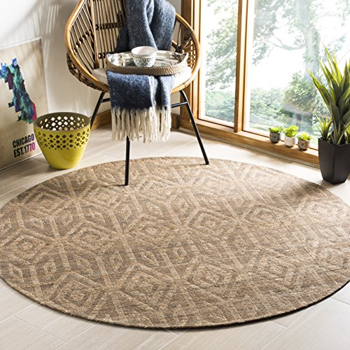 Safavieh Cape Cod Collection CAP411A Hand Woven Geometric Camel Jute and Cotton Round Area Rug (6' Diameter)