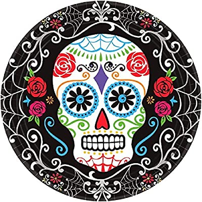 "Day of The Dead Round Plates, 10 1/2"": Toys & Games"