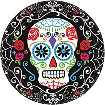 Amscan Day of the Dead Sugar Skull Disposable Round Dinner Paper Plates 10  Pack  sc 1 st  Amazon.com & Amazon.com: Amscan Day of the Dead Sugar Skull Disposable Round ...