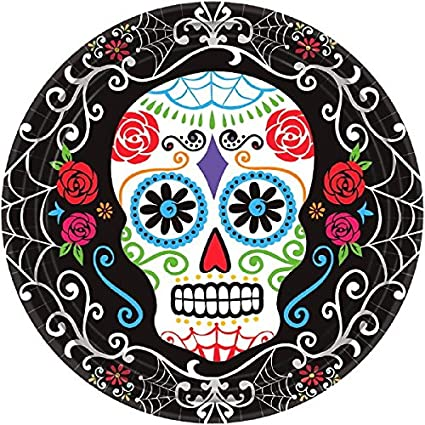 Amscan Day of the Dead Sugar Skull Disposable Round Dinner Paper Plates 10\u0026quot; Pack  sc 1 st  Amazon.com & Amazon.com: Amscan Day of the Dead Sugar Skull Disposable Round ...