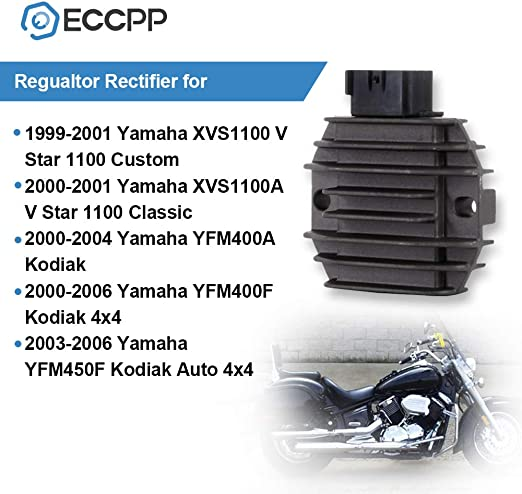 ANGLEWIDE Voltage Regulator Rectifier ZZP-XCO61188 Regulator Rectifier Fit for 2000-2006 Yamaha Kodiak 400 2003-2006 Yamaha Kodiak 450 1999-2001 Yamaha V Star 1100