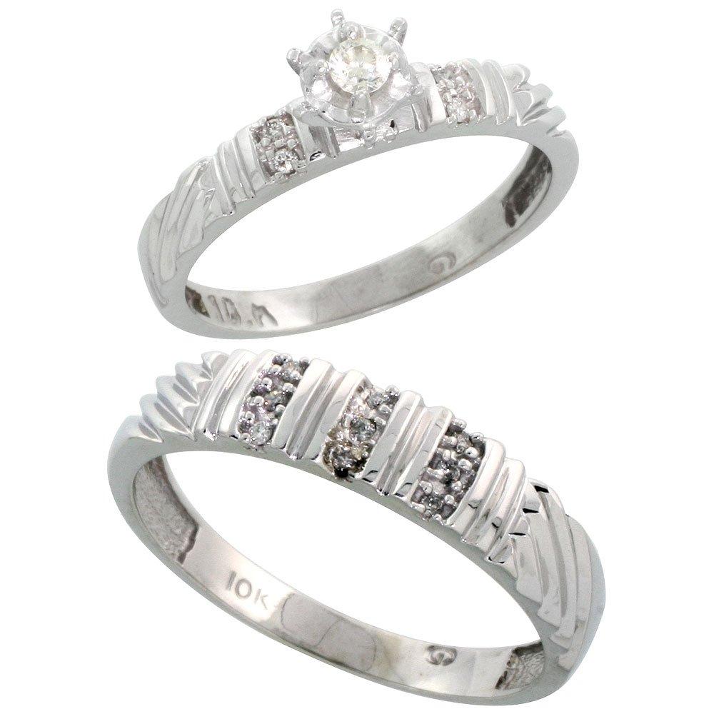 9 ct oro blanco diamante 2 piezas Juego de anillo de compromiso de ...