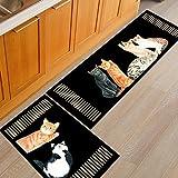 THEE Non-Slip Kitchen Mat Rubber Backing Doormat Runner Rug 2pcs Set