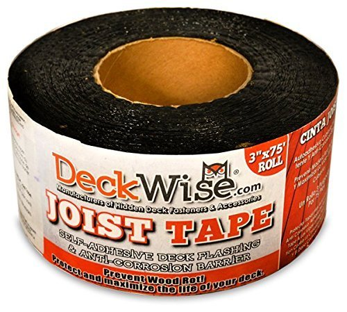 DeckWise WiseWrap JoistTape 3'' x 75' Self-Adhesive Deck Joist Flashing Tape for Hardwood, Thermal Wood, PVC, Pressure Treated, and Composite Decking (1 roll) by DeckWise