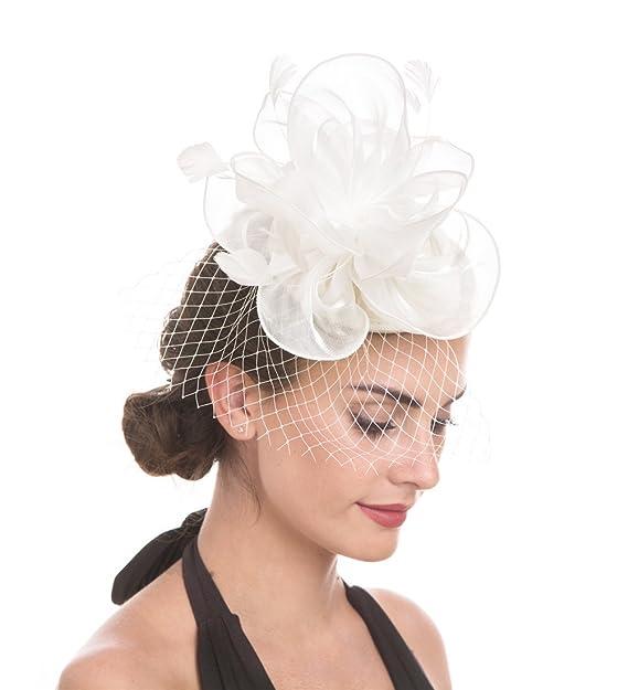 73db164b Sinamay Flower Feather Headband Fascinator Wedding Headwear Ladies Race  Royal Ascot Pillbox Wedding Cocktail Tea Party Derby Hat For Women  (A2-White): ...