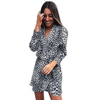 2c2921c171c FRAUIT Winterjacke Wollmantel Damen langes Hülsen-Art- und Weiseleopard-Druck  Kleid Muster-