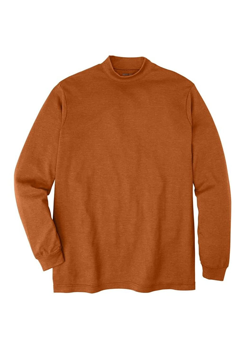 Kingsize Men's Big & Tall Mock Turtleneck Long-Sleeve Cotton Tee ...