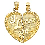 Solid 14k Yellow Gold I Love You Couple Pendant Heart Breakable Charm Two Piece Polished 20 x 23 mm