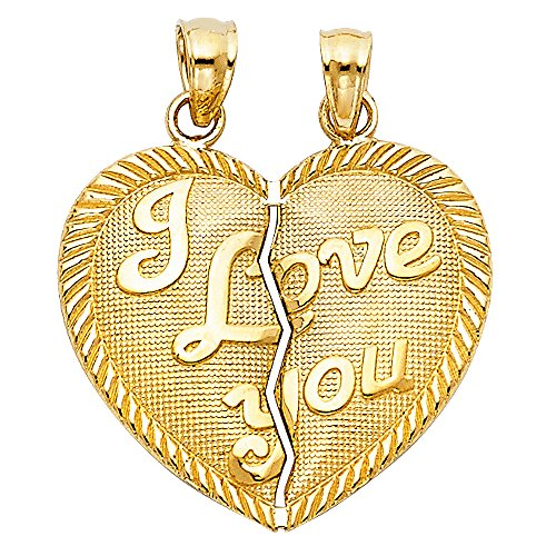 Solid 14k Yellow Gold I Love You Couple Pendant Heart Breakable Charm Two Piece Polished 20 x 23 mm by ZenJewels