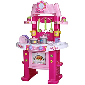 Infantastic® - Cocina infantil de juguete color rosa - Con 14 piezas ...