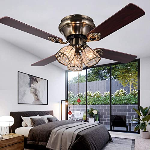 Flush Mount Indoor Ceiling Fan with Three Crystal Lights, Bronze 52Inch with Light