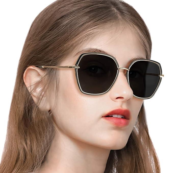 Pdnlds Gafas de sol Grandes con Lentes de Protección 100% UV ...