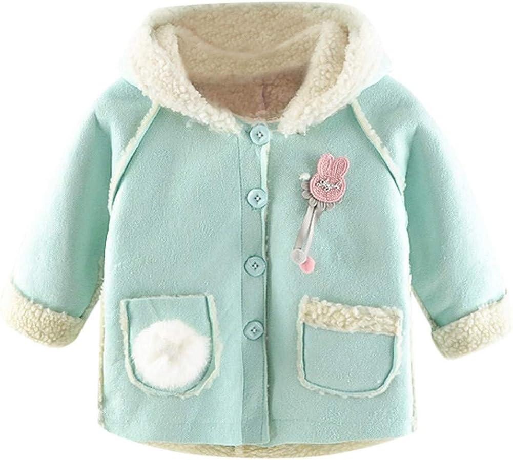 kaiCran Kid Girls Hooded Coats Winter Thick Warm Jackets Outerwear with Rabbit Hair Ball Pocket