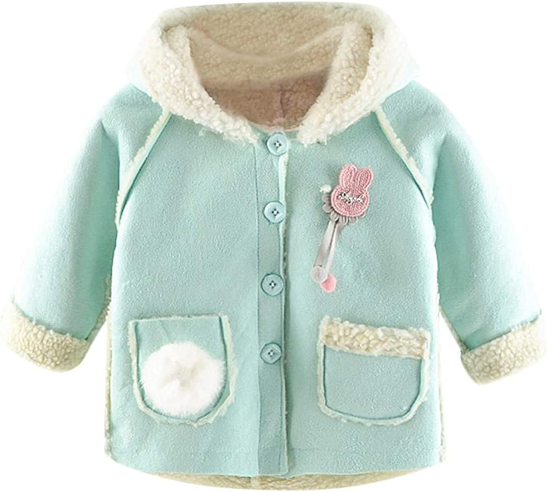 Moonker-Baby Tops Infant Toddler Boys Girls Winter Warm Solid Color Button Down Jacket Hooded Coat with Pocket 0-3 Years Old