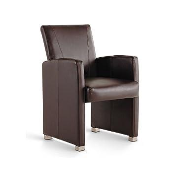 SAM® Esszimmer Armlehnstuhl, Sessel In Braun, Füße Aus Edelstahl, Lehnstuhl  Mit Angenehmer