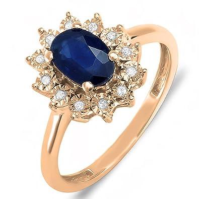 Kate Middleton Diana Inspired 10K Gold Diamond & Blue Sapphire