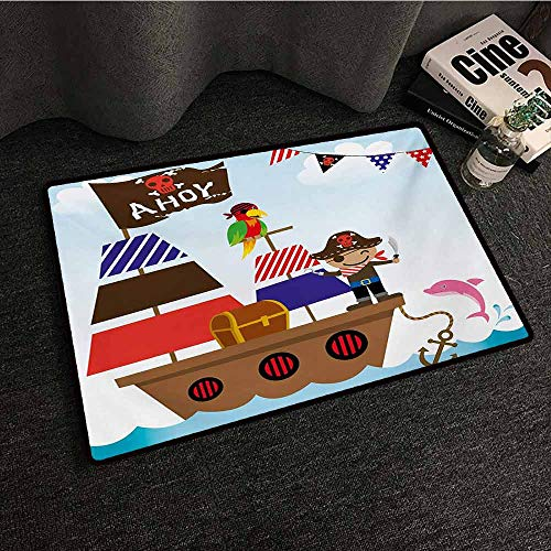 Zzmdear Ahoy Its a Boy Front Door Mat Large Outdoor Indoor Cute Pirate Kids Treasure Chest with Ship on Ocean Background Illustration Anti-Fading W30 xL39 Multicolor