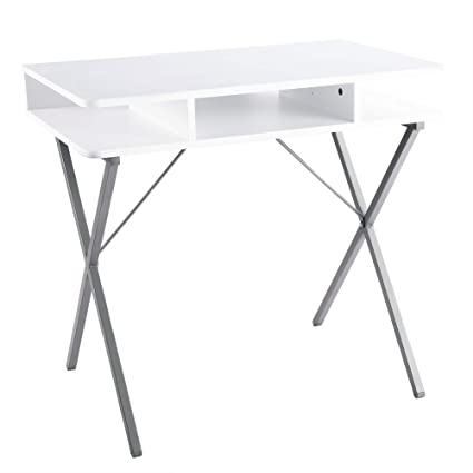best sneakers 80110 2b79d FIVEGIVEN Small White Computer Desk Modern Writing Desk with Storage for  Home Office, 31.5 Inch