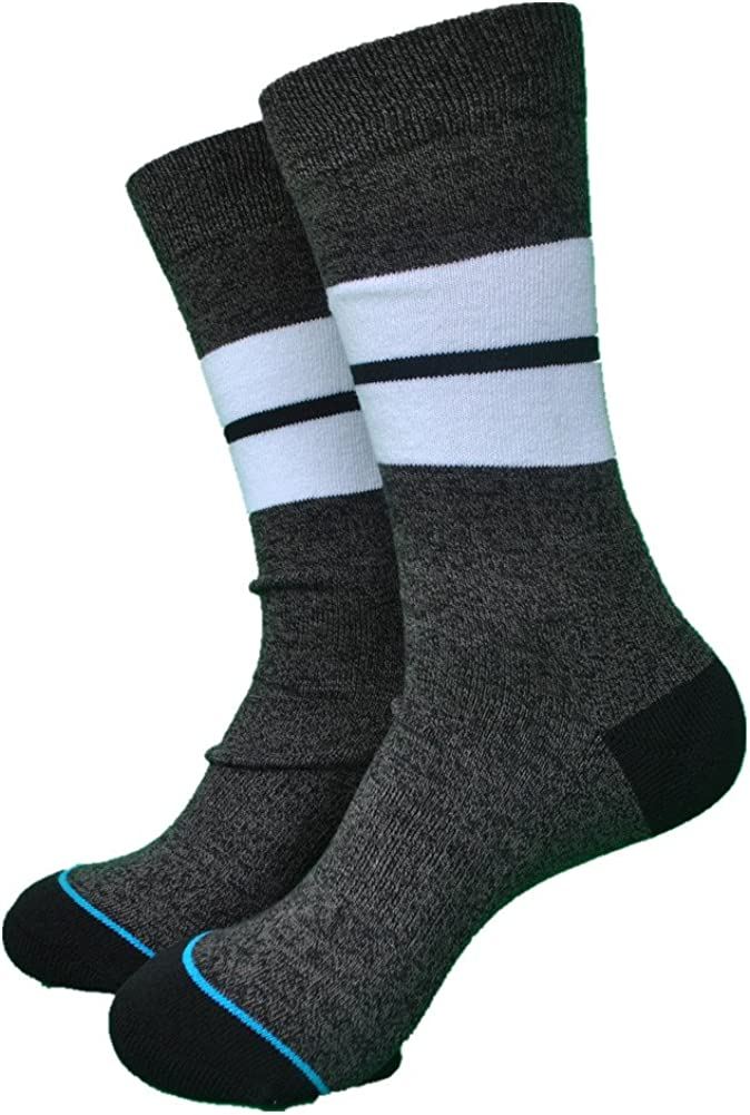 1 Pair) Walking Mountain Athletic Socks-New Style Cotton Fashion Dark Grey Color Mens Socks Size US8-12