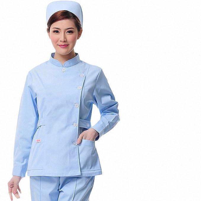 Xuanku Enfermera Farmacia Cosmética Dental Invierno Manga Larga Cuerpo Vestido De Bata Blanca Monos, XL, Azul: Amazon.es: Ropa y accesorios