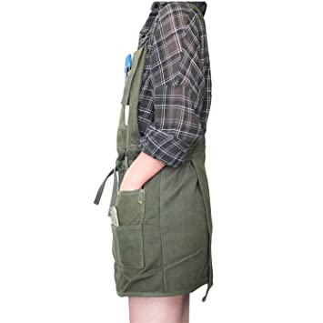 ... Apron Pockets Painters Canvas Aprons with Waterproof and Adjustable 0a0c23961656a