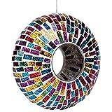 Viesrod Rainbow Mosaic 9.25 Inch Glass Decorative Hanging Outdoor Garden Bird Feeder