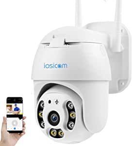 IOSICAM 1080P Outdoor PTZ Dome WiFi Camera, for Gate,Yard,Garage,Garden,Home Security Surveillance Waterproof IP Camera, Pan & Tilt/ 2-Way Audio/Motion Detection/Color Night Vision/Support SD Card