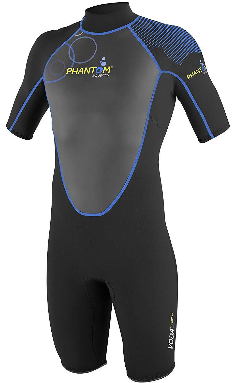 Phantom Aquatics Marine Men's Shorty Wetsuit for Scuba or Snorkeling (Black Blue Voda, Small)