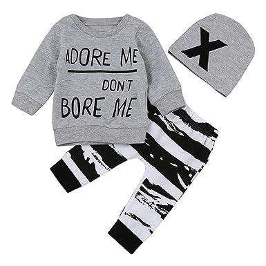 07599b0bc857 Kavitoz Newborn Baby Boy Girl Long Sleeve Letter Print Tops+Pant+Cap ...