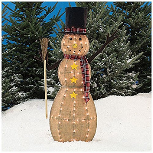 Plaid Top Hat (NEW Christmas Rustic 4' Pre-Lit Burlap Snowman W/Black Top Hat, Plaid Scarf & Yellow Star Accents 70-Lights Indoor Outdoor Decoration)
