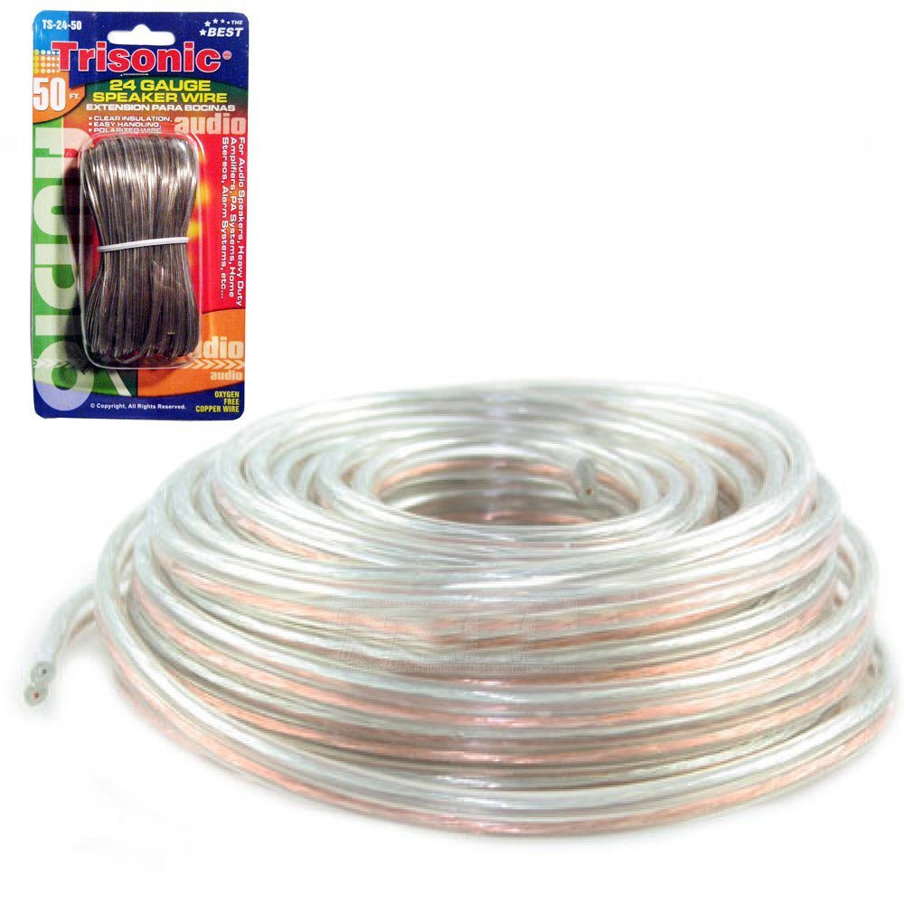 50 Ft Speaker Cable Clear Insulation Wire 24 Gauge New Thread Coil Wiring Positive Or Negative Electronics