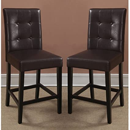 Beau Poundex Bar Stools Parson Counter Height Chairs, Espresso Faux Leather, Set  Of 2