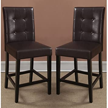 Poundex Bar Stools Parson Counter Height Chairs, Espresso Faux Leather, Set  Of 2
