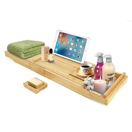 Newkiton bambú bañera Caddy bandeja con extender lados, sin jabonera, libro y soporte para