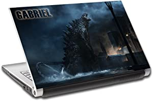 "Godzilla Personalized LAPTOP Skin Vinyl Decal Sticker ANY NAME L312, 15.4"""