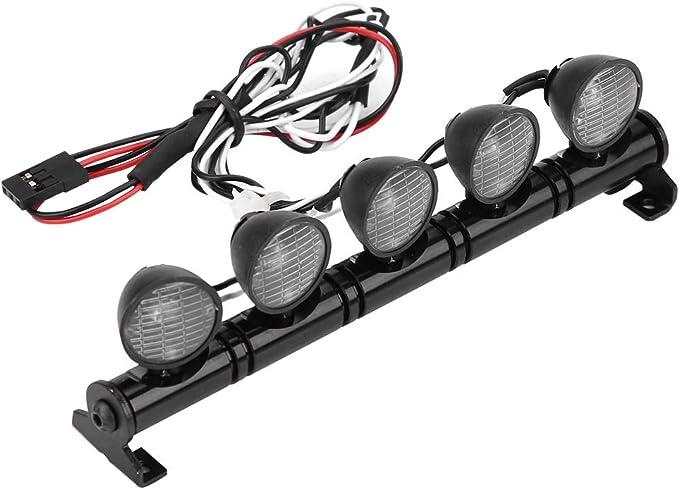 Dilwe RC Coche Barra de Luz LED, 5 Leds Bar Luminoso Lampara de Faro Parte Accesoria para AXAIL scx10 Traxxas TRX-4 RC Coche