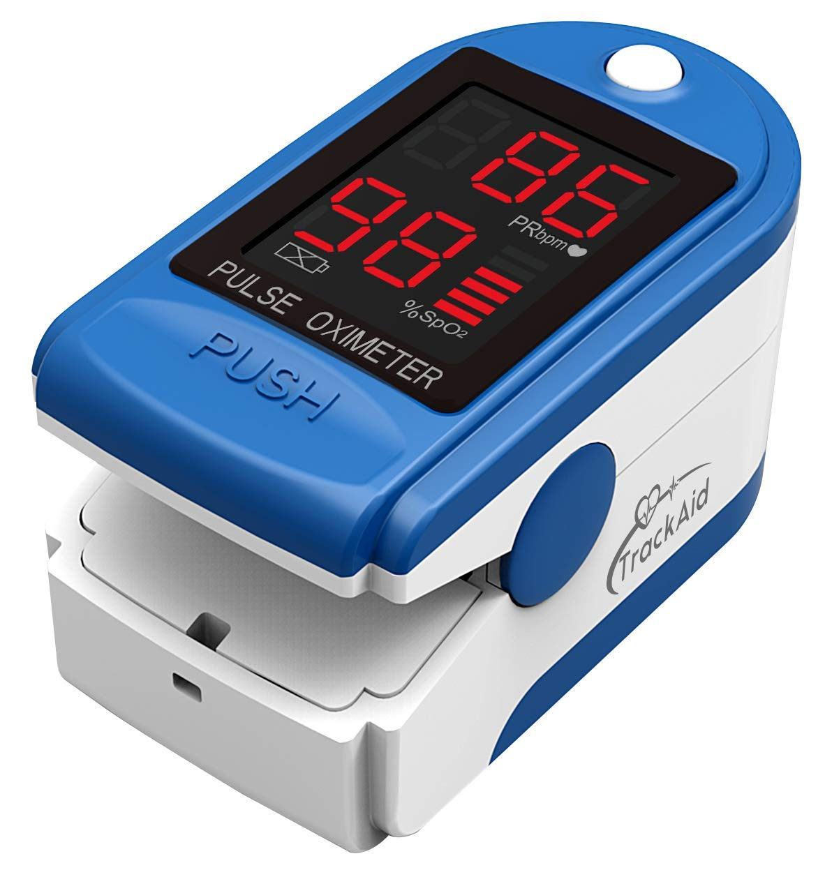 TrackAid Pulse Oximeter Portable Finger Oxygen Saturation and Pulse Rate Monitor (Blue)